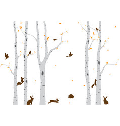 Birch tree with deer and birds silhouette bac vector