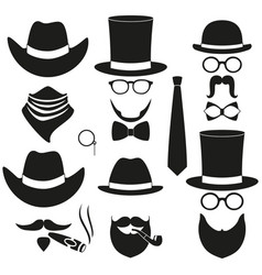 black and white 6 silhouette man avatars set vector image