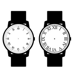 blank hand watch face on white background vector image