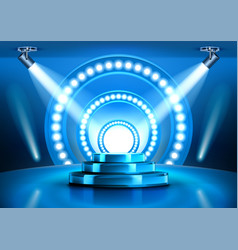 blue award ceremony stage podium with spotlights vector image