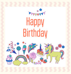 bright birthday card with unicorn flower cloud vector image