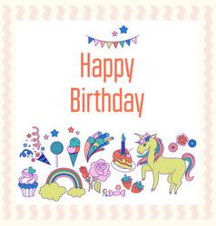 Bright birthday card with unicorn flower cloud vector