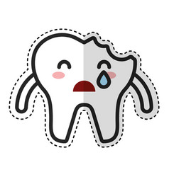 broken tooth crying character icon vector image