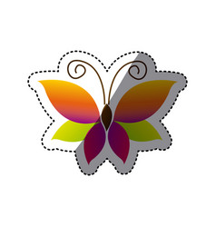 butterfly with tricolor wings icon vector image