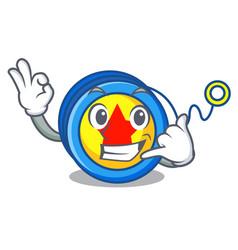 Call me yoyo mascot cartoon style vector