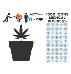 cannabis pot icon with 1300 medical business icons vector image