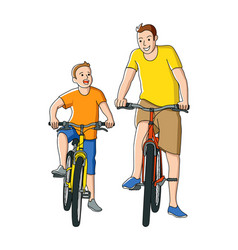 cartoon of father and son riding bicycle vector image