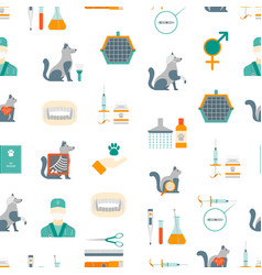 cartoon veterinary and grooming seamless pattern vector image