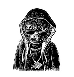 Cat rapper dressed in hoodie necklace with vector