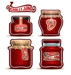 Chilli jam in jars vector