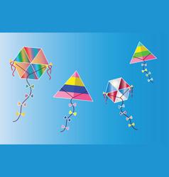 Colorful kites set on blue sky vector