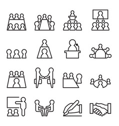 Conference meeting icon set in thin line style vector