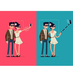 Couple Taking Selfies with a Selfie Stick vector