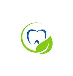 dentist teeth leaf organic logo vector image