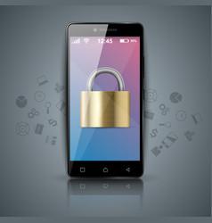 Digital gadget smartphone tablet key lock icon vector