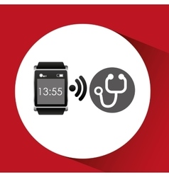 Digital smartwatch healthy stethoscope vector