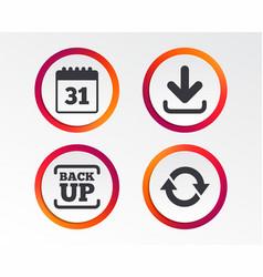 download and backup signs calendar rotation vector image