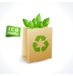 Ecology symbol paper bag vector