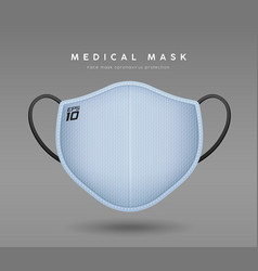 face mask light blue color realistic mock up vector image