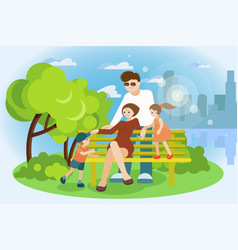 family is resting in the park on a bench vector image