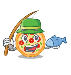 fishing margherita pizza isolated with the vector image