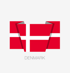 flag of denmark flat icon waving flag with vector image