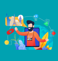 Flat bearded man talks about traveling with tablet vector