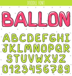 Font ballon Set volume letters numbers in doodle vector image
