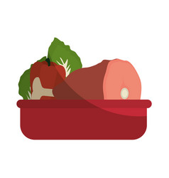 Food tray vegetable meat vector