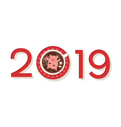funny happy new year 2019 greeting card year vector image
