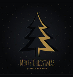 golden christmas tree design in origami style vector image