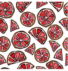 grapefruit seamless slices background pattern of vector image