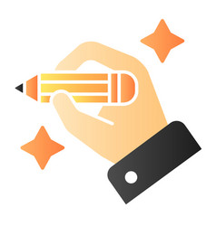 Hand with pencil flat icon hand drawing color vector