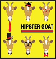 Hipster Goat Flat Cartoon vector image