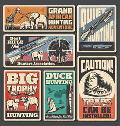 Hunting sport posters ammunition and animals vector