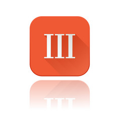 Iii roman numeral orange square icon with vector