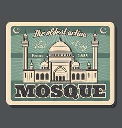 Islam religious poster to muslim mosque visit vector