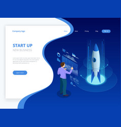 isometric businnes start up concept income and vector image