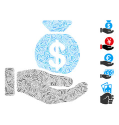 Line mosaic invest hand vector