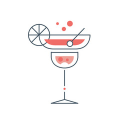 Linear logo of cocktail glass with margarita vector