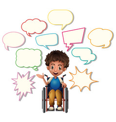 little boy on wheelchair with blank speech bubbles vector image