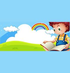Little boy reading book in park vector