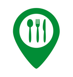 map marker location with fork knife and spoon vector image