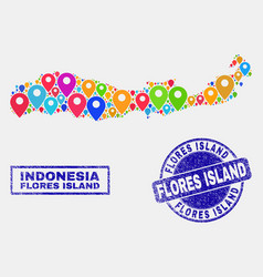 Map pointers mosaic flores island indonesia vector