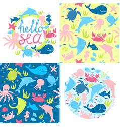 marine kids style set with sea animals vector image