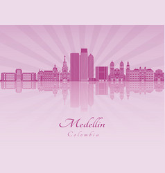 medellin skyline in purple radiant orchid vector image