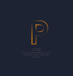 modern dotted letter p of the latin alphabet vector image