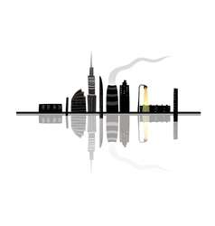 Night City Landscape Reflection Cartoon vector