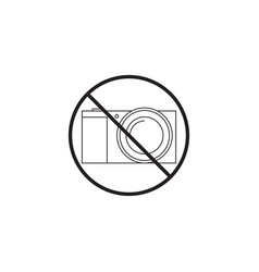 No camera line icon no photo prohibited sign vector