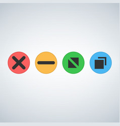 os or web multicolor buttons close minimize zoom vector image